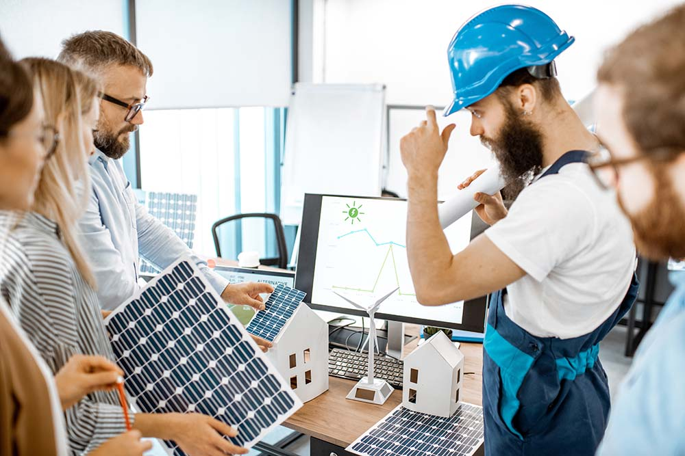 Solar Panels and Man in Hardhat